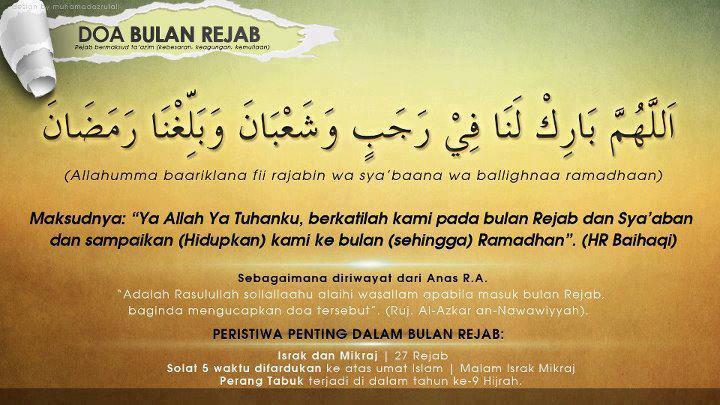 Selamat Beribadah di Bulan Rajab, Semoga disampaikan pada Ramadhan