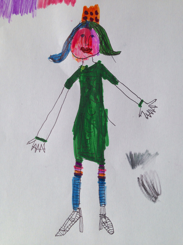 "Beautiful drawing of the ""Many fingered fairy princess"" by Rose, aged 5."