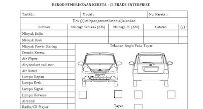 Rekod pemeriksaan kereta sewa Tawau