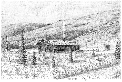 Sketches of alaska kantishna s busia cabin exudes alaskan Cabin drawings