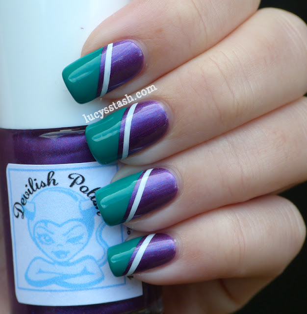 Wimbledon nail art tape manicure in purple, green and white featuring KIKO and OPI