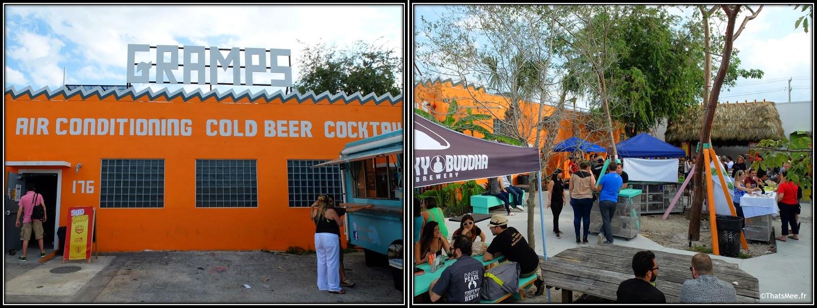 bière fraiche bar Gramps Wynwood Miami, hipster terrasse café bar Gramps foodtruck