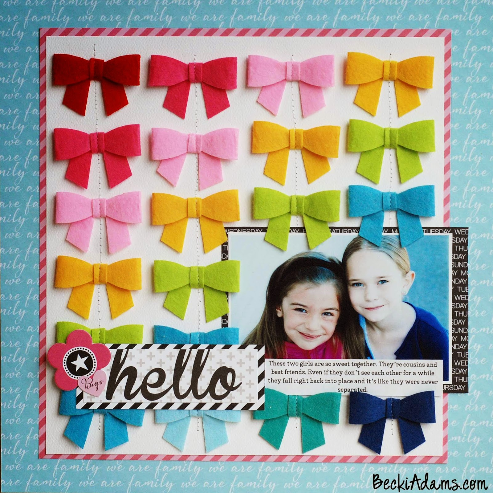 A layout featuring Bella Blvd's Bella Bows by @jbckadams #scrapbook #papercrafting # scrapbooking
