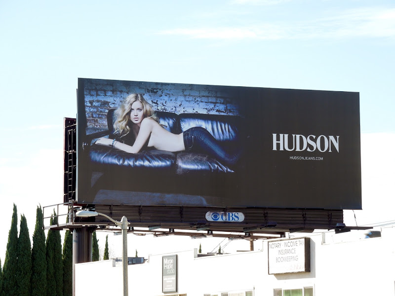 Hudson Jeans topless model billboard
