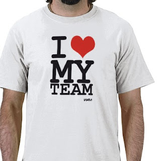 T-shirt saying I love my team