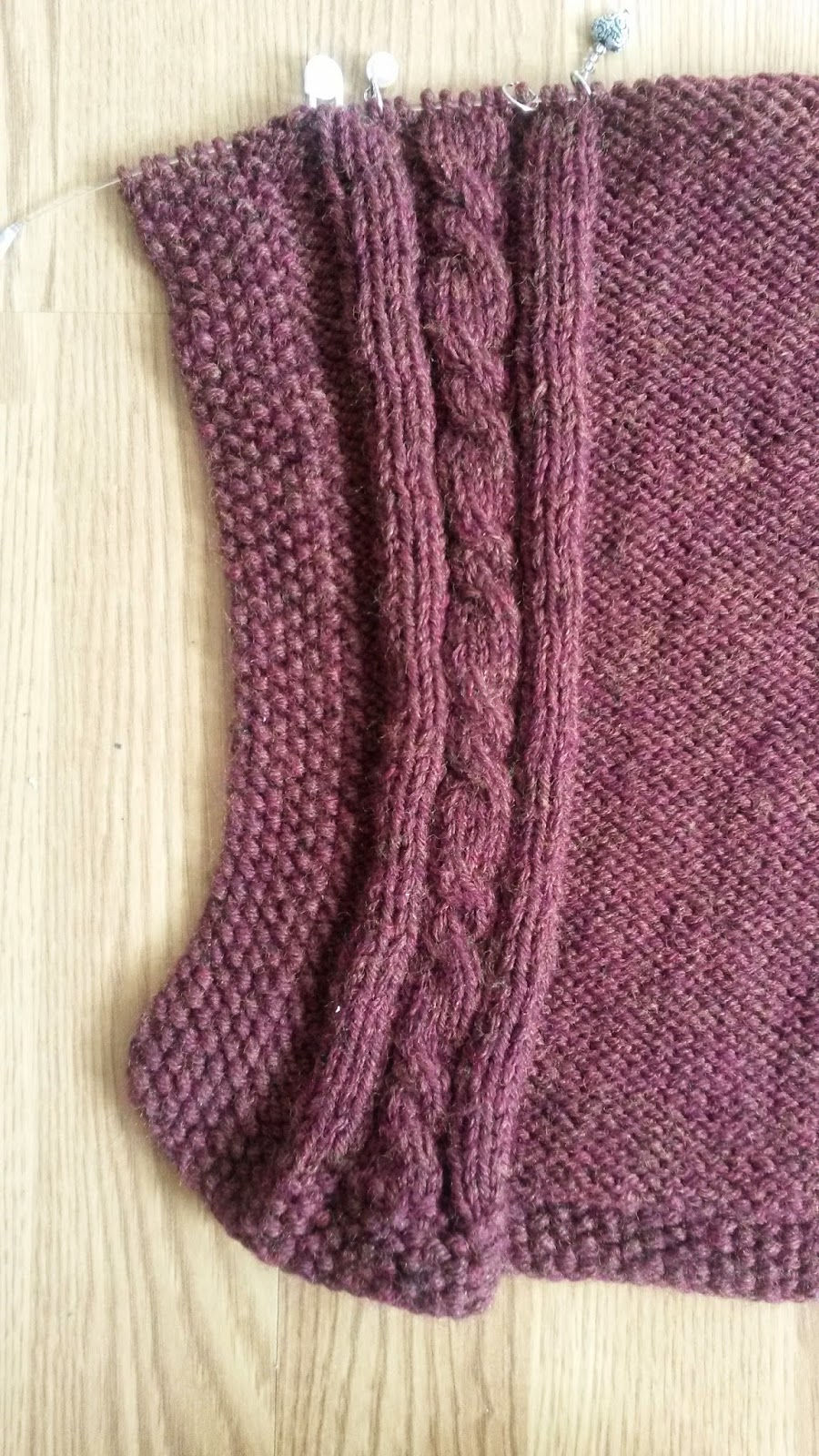 side cable edging on knitted ruana by Mrs U Makes
