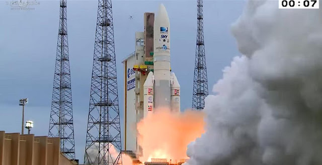 Ariane 5 rocket launches DirecTV-15 and Sky Mexico-1 communications satellites on May 27. Image Credit: Arianespace