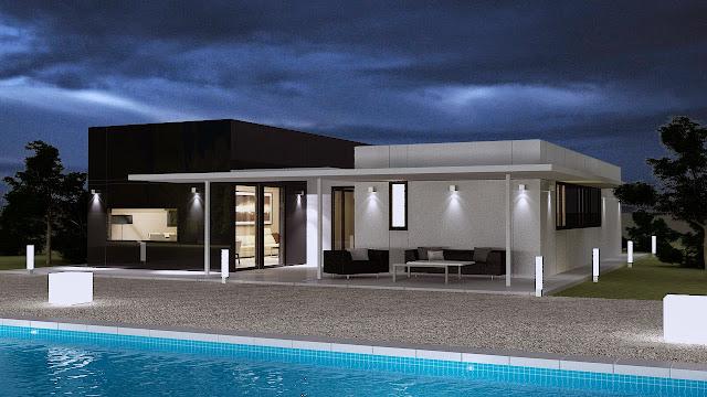 Porche vivienda Resan Modular - Iluminación nocturna