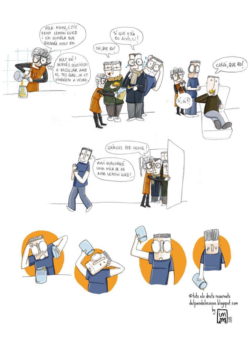La família. Il·lustració pel webcòmic Del país dels coixos ©Imma Mestre Cunillera.