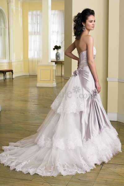 wedding lady light purple brilliant wedding dress