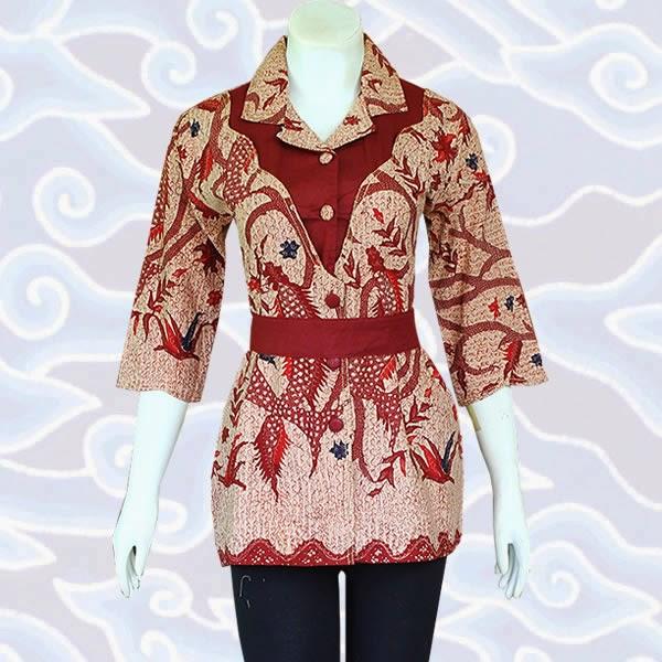 baju blus atasan batik wanita terbaru