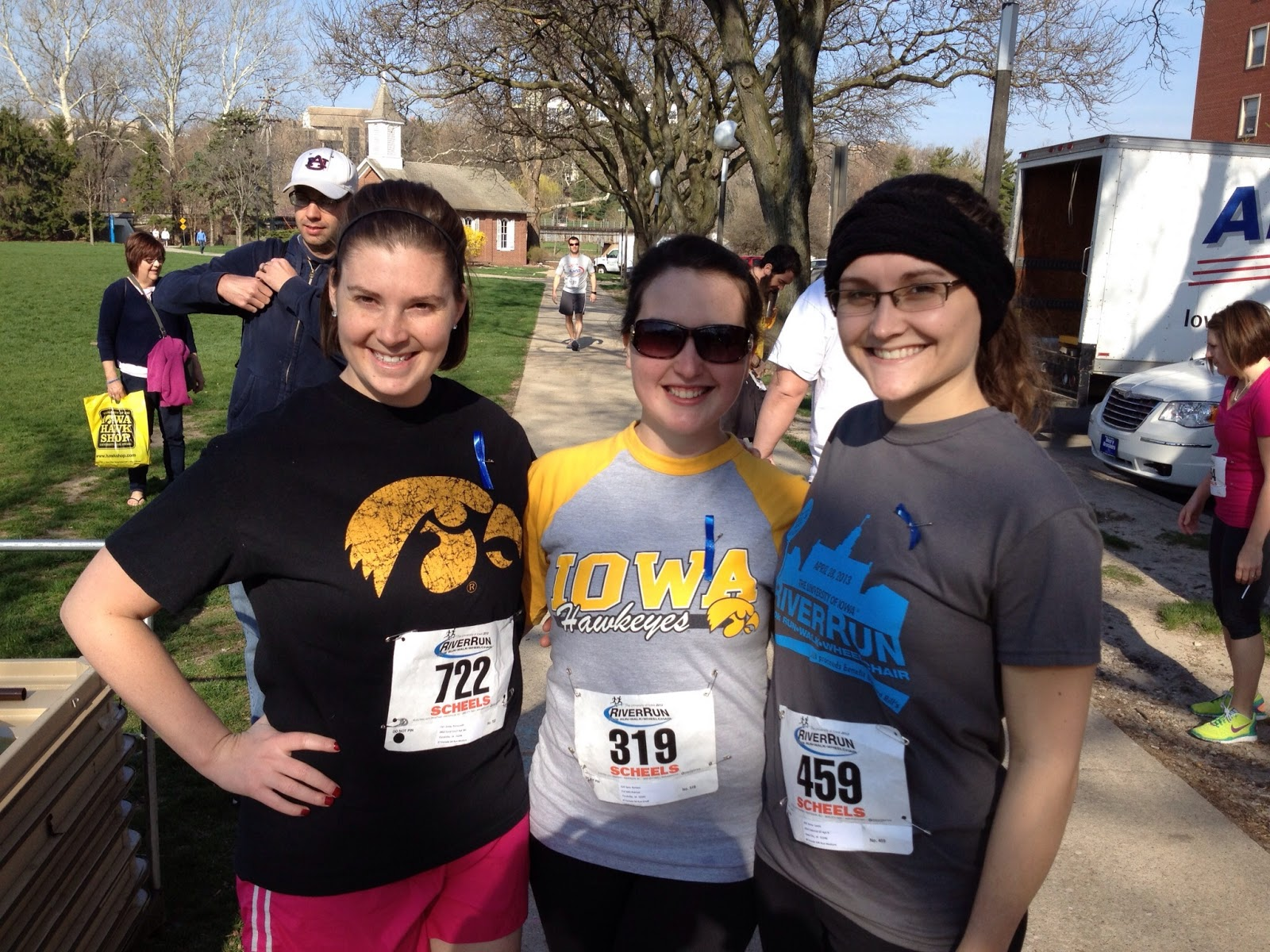 Sara poses with her running friends before her first 5k