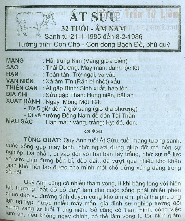 TỬ VI TUỔI ẤT SỬU 1985 NĂM 2016 BÍNH THÂN NAM MẠNG