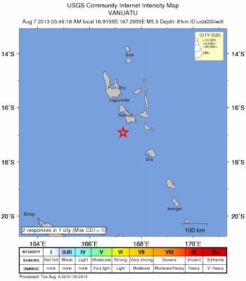 Epicentro sismo 5,9 grados cerca de vanuatu, 06 de Agosto 2013