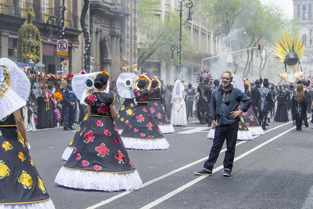 Director Sam Mendes on location in Mexico City shooting the opening sequence of Metro-Goldwyn-Mayer Pictures/Columbia Pictures/EON Productions' action adventure SPECTRE.