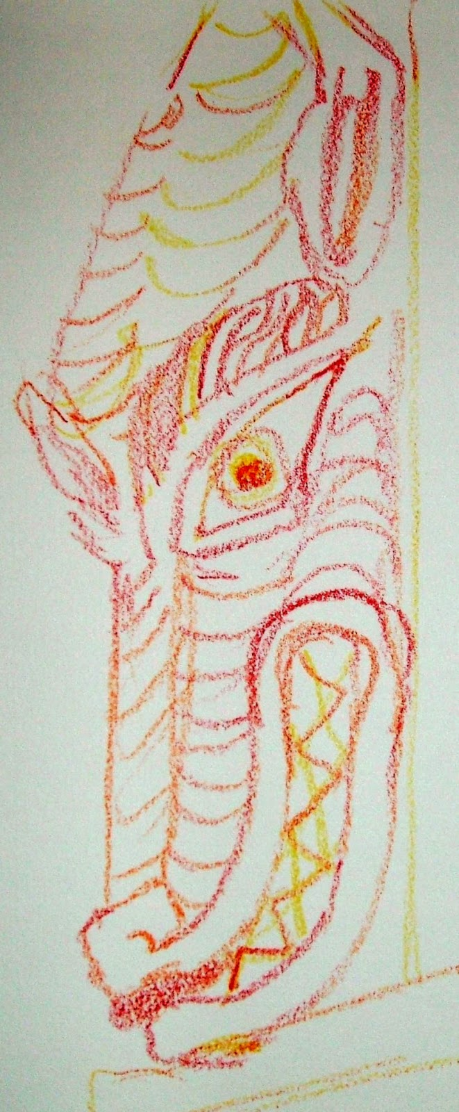 Norman dragon carving at Leonard Stanley