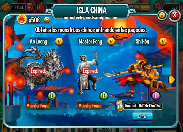 imagen de la tercera guarida de la isla china de monster legends