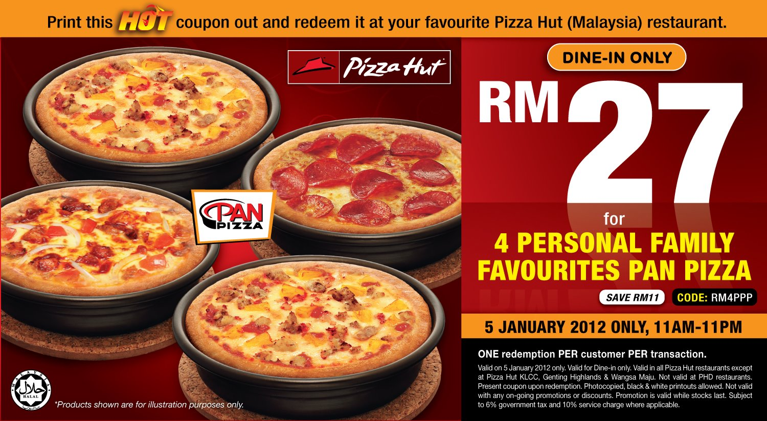 Pizza Hut Hot Coupon 4 Personal Family Favourites Pan Pizza Rm27
