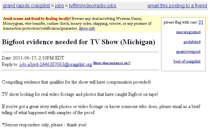 Bigfoot Evidence: Bigfoot Evidence Needed for TV Show ...
