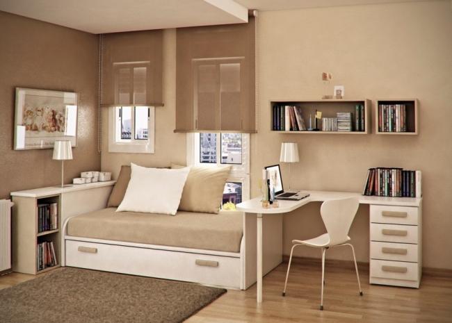 Pequeo Dormitorio Juvenil Donde Tenemos Una Cama A Modo De Sof Con
