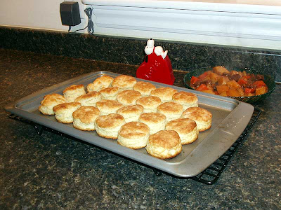 The perfect side dish for stew is fresh biscuits and butter.