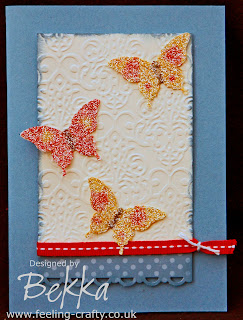 Sparkly Glimmer Butterfly Card by Bekka - love the coloured glimmer butterflies
