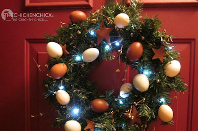 DIY Christmas wreath using blown eggs and homemade cinnamon ornaments