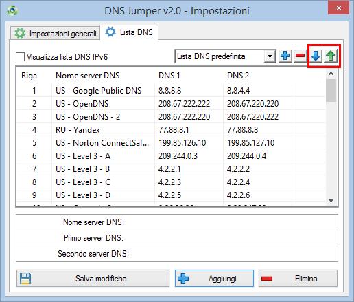 DNS Jumper 2.0 importa ed esporta lista server DNS