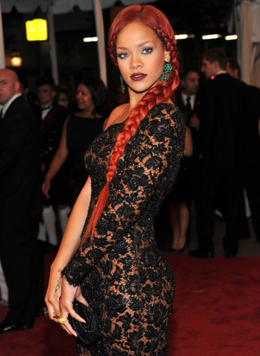 Rihanna Red Hairstyle Pictures