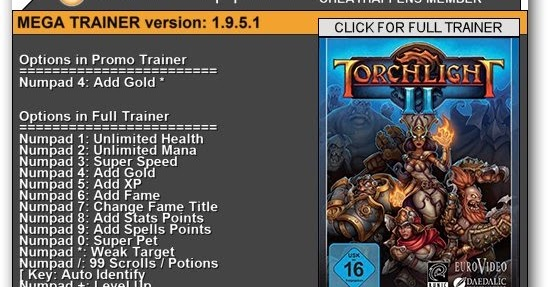 WhatSpecification: Torchlight II +1 Trainer