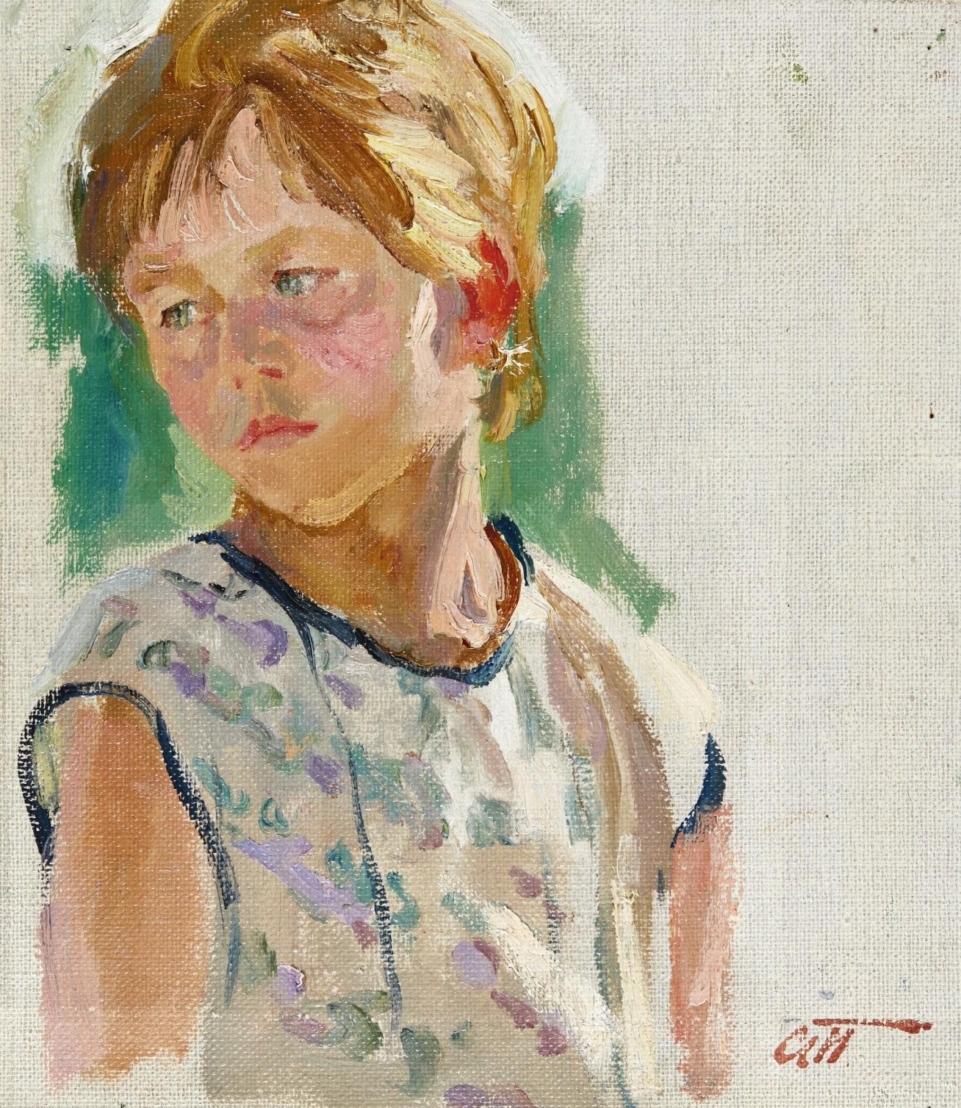 Arkady Plastov Portrait of a girl