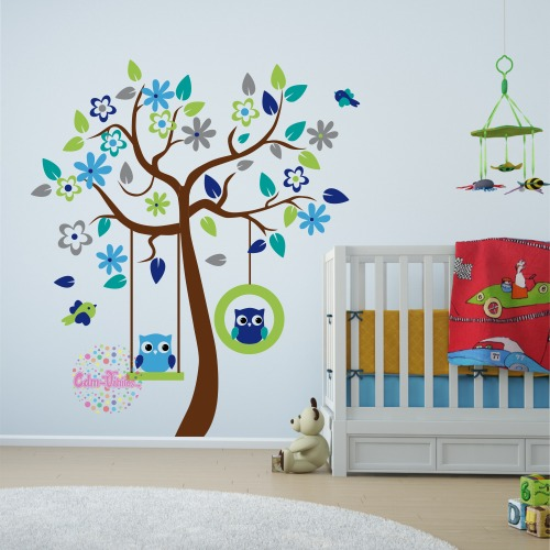 Vinilo decorativo infantil arbol buhos cdm vinilos for Sticker para decorar dormitorios