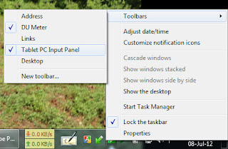 """tablet pc Input panel"" / ""On Screen Keyboard"" in Taskbar"