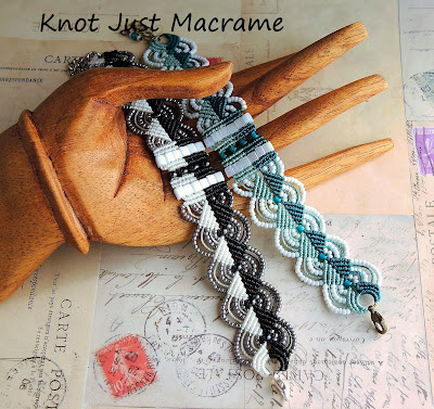 Two tone micro macrame bracelets by Sherri Stokey of Knot Just Macrame