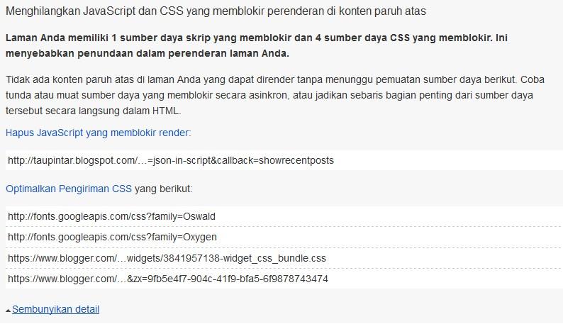 Menghilangkan JavaScript dan CSS yang memblokir perenderan di konten paruh atas http://taupintar.blogspot.com
