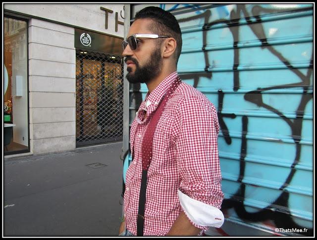 Franck Passerat designer styliste, lunettes Balenciaga bretelles DONDUP Milan Jean Topman chemise vichy rouge hommes H&M
