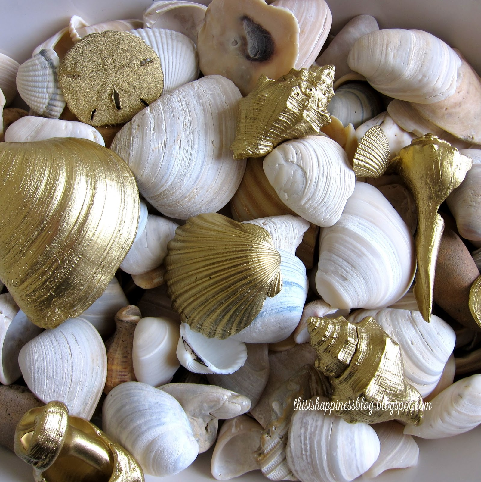 This is happiness diy gold seashells for Shell diy