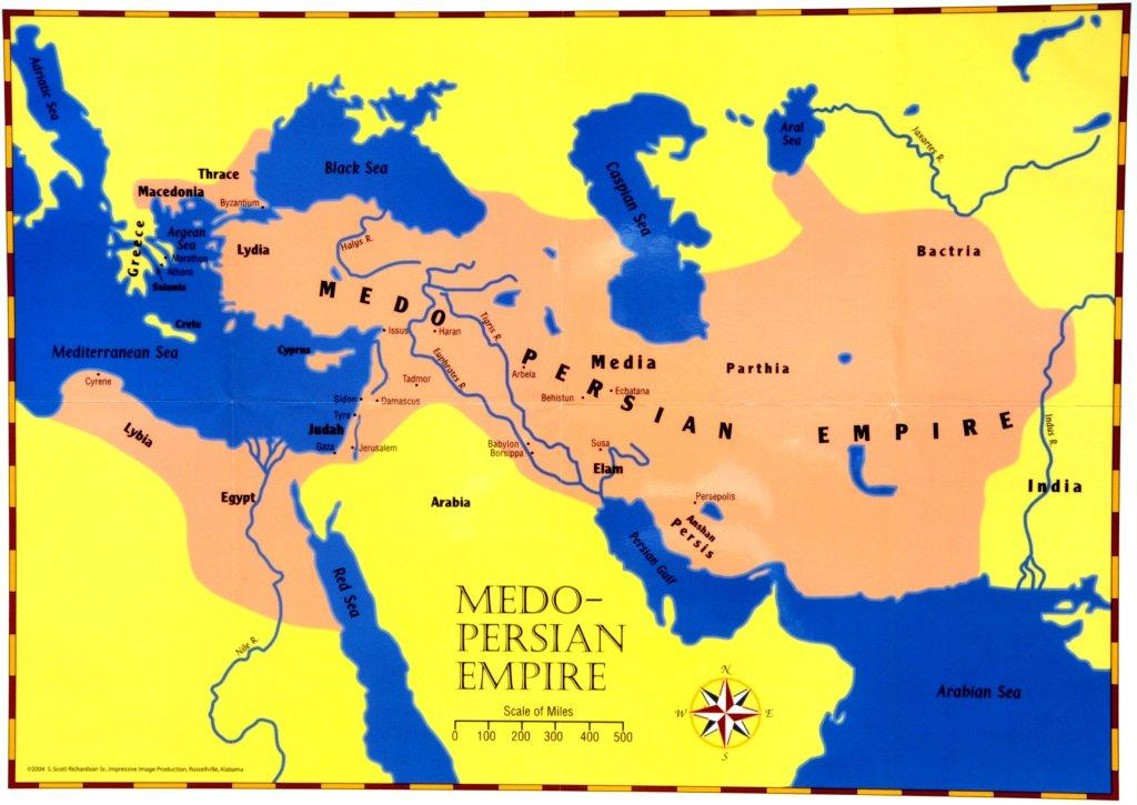 Map Of Xerxes Empire. The Persian Empire rules Judah