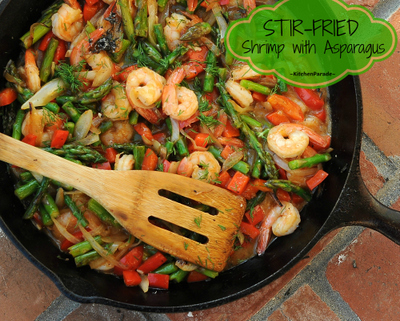 Stir-Fried Shrimp with Asparagus, shrimp stir-fried with your choice of fresh summer vegetables and tossed in an addictive sweet 'n' sour hot sauce. A 'master' recipe for stir-fried shrimp and vegetables.