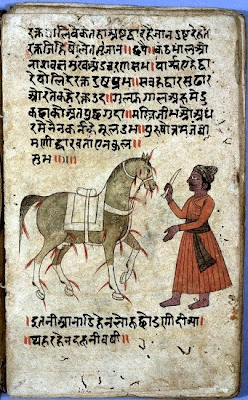 Painting, a man and a horse, Sanskrit scripts in background