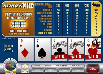 Video Poker Deuces Wild (doses comodín)