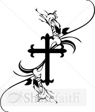 Black and White Cross Clip Art