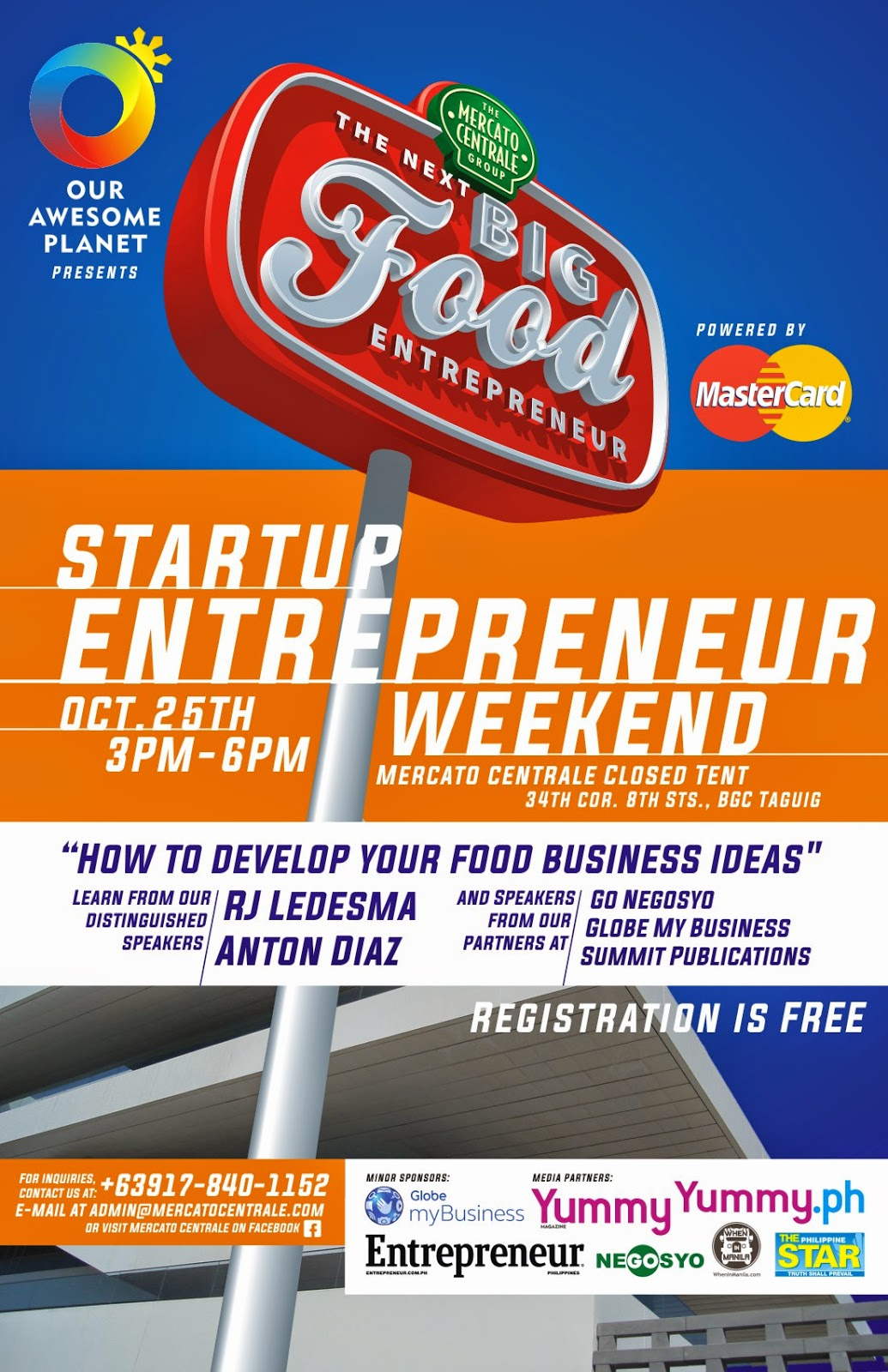 BUSINESS FOOD IDEAS During Our STARTUP ENTREPRENEUR WEEKEND On October 25 Saturday From 300pm To 600pm At Mercato Centrale The Corner Of