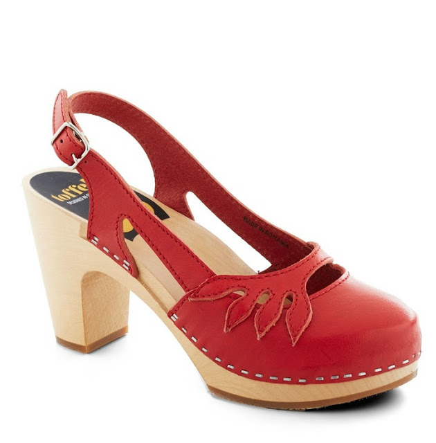 Modcloth shoes, modcloth.com, Swedish Hasbeens sandals, Lend a Branch Heels, red leather, wood platforms, natural dye