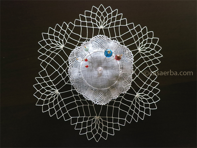 Pin Cushion and Filet Lace Doily