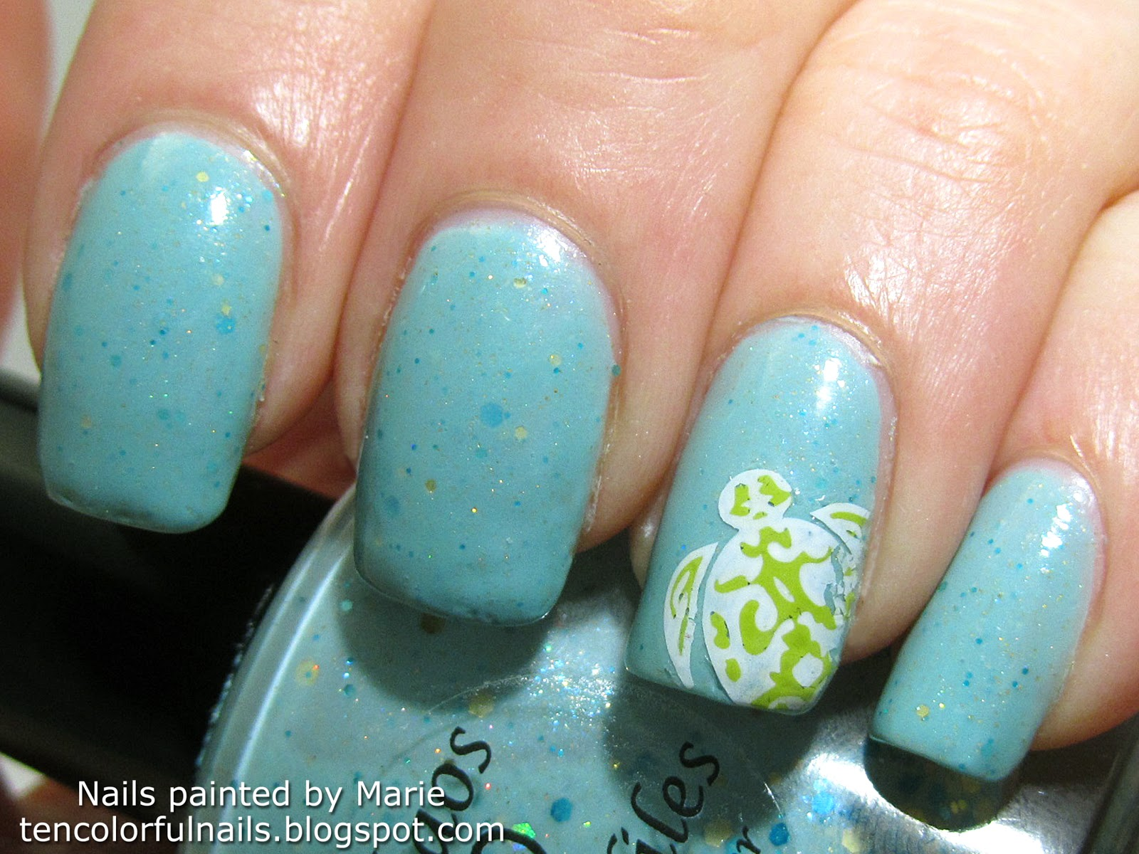 Ten Colorful Nails Narwhals Are Unicorns Too Swatch Stamped