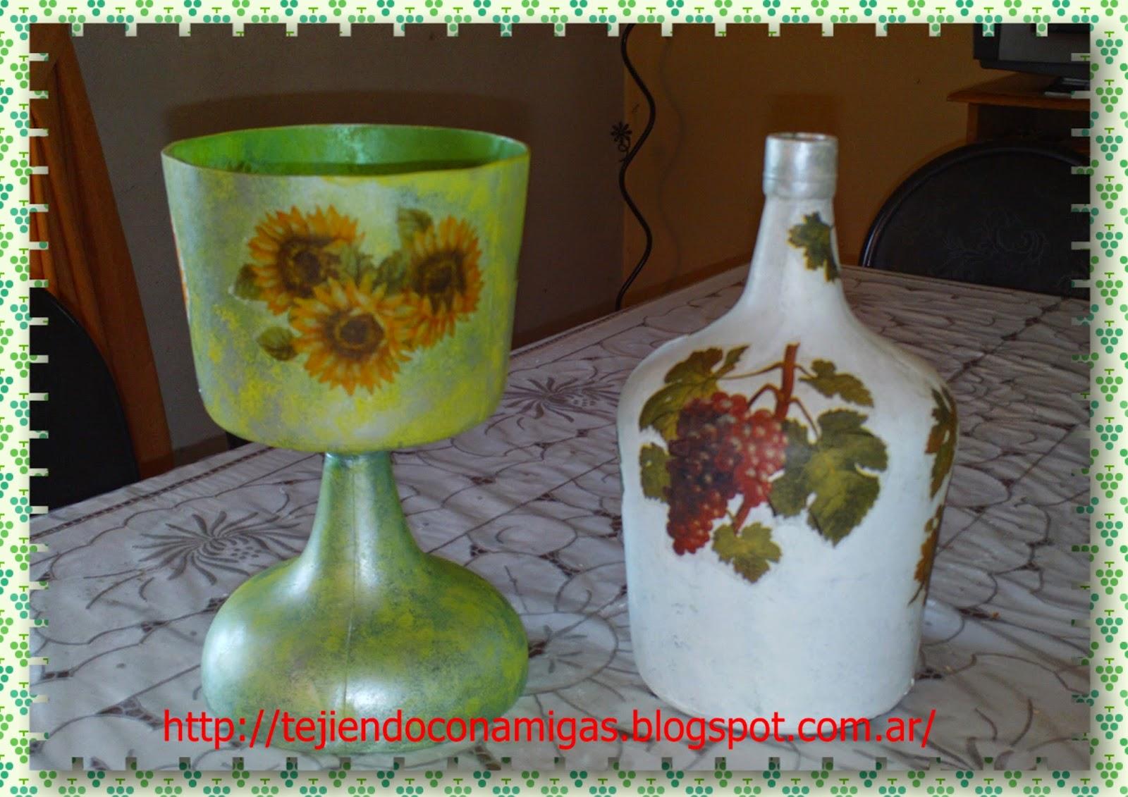 Tejiendo con amigas artesan as con botellas y damajuanas - Como poner fibra de vidrio ...