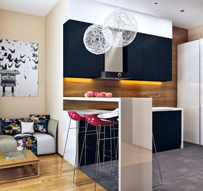 foto cocina abierta barra
