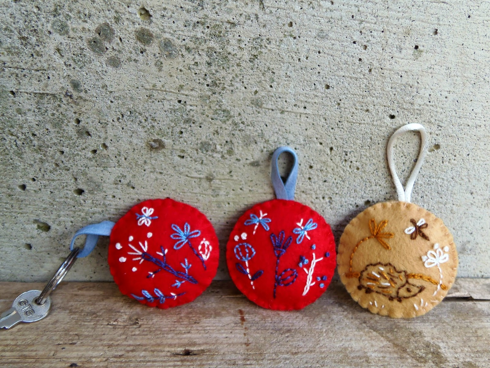 embroidered landscape on felt keychains