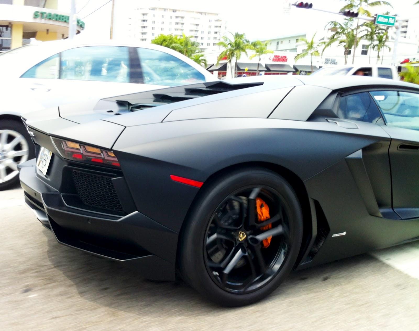 Matte Black Lamborghini Aventador on Alton Road Miami Beach